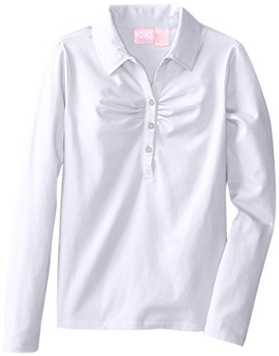 KHQ Big Girls'  Long Sleeve Shirring Polo, White, Small