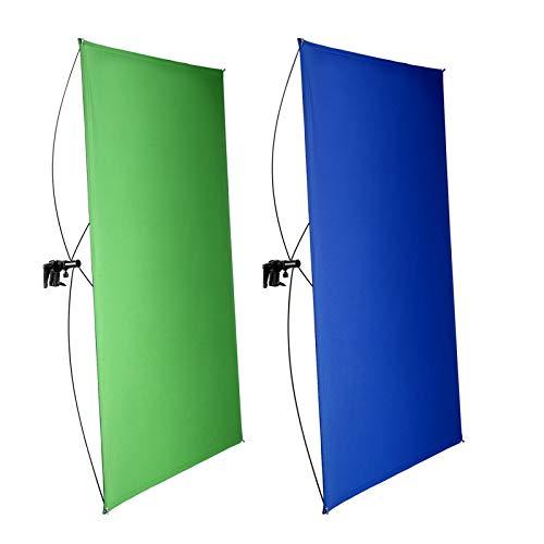 Pantalla de fondo portátil azul/verde c/varillas 100x140CM