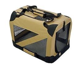 Pet Life H2KHLG Khaki 360 Degrees Vista Folding Soft Crate - LG