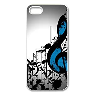 amazing music notes pattern,classic musical note design Custom Case for iPhone 5,5S PC case cellphone cover white