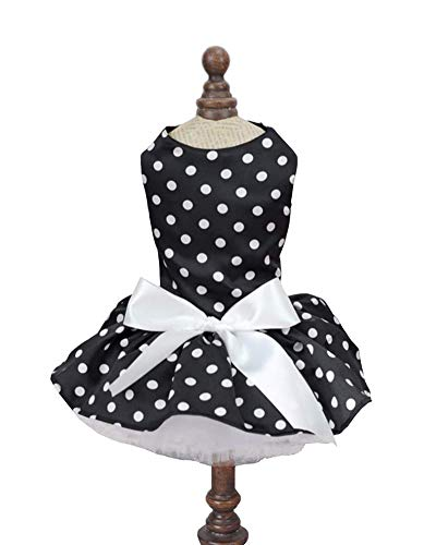 Hdwk&Hped Small Dog Dress Puppy Cat Skirt Pet Summer Dress for Special Occasions Polka Dot Style Black -