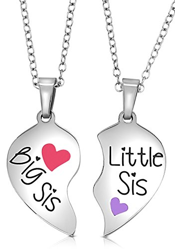 2 Piece Heart Halves Matching Big Sis Little Sis Sisters Necklace Jewelry Gift Set Best Friends (Big Sis Pink - Little Sis Purple)