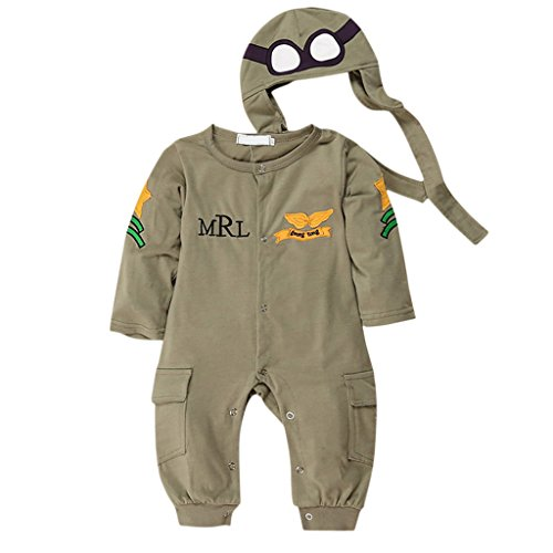 MagiDeal Cute Infant Toddler Baby Boys Pilot Jumpsuits Costume Romper Long Sleeve Green - Army Green, (Baby Black Military Romper Costumes)