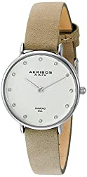 Akribos XXIV Women's AK882WT Quartz Movement Diamond Watch with Silver Dial and Beige Nubuck Leather Strap