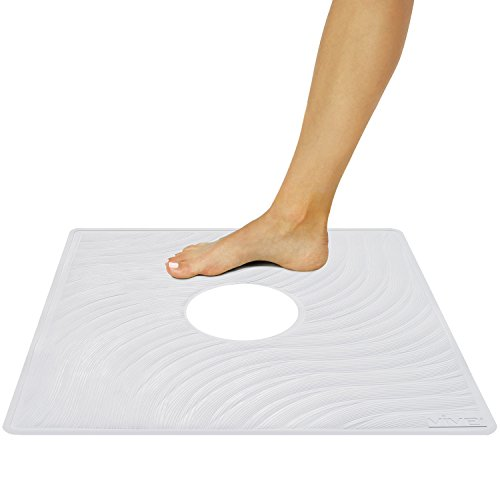 Shower Mat by Vive - Square Bath Mats with Drain Hole - Non Slip Suction Cup Pad for Shower Stalls & Floors - Mold & Mildew Resistant 22