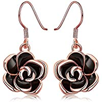 MXYZB Silver Plated Flower Dangle Earrings with Cubic Zirconia Jewelry Gifts for Women Girls