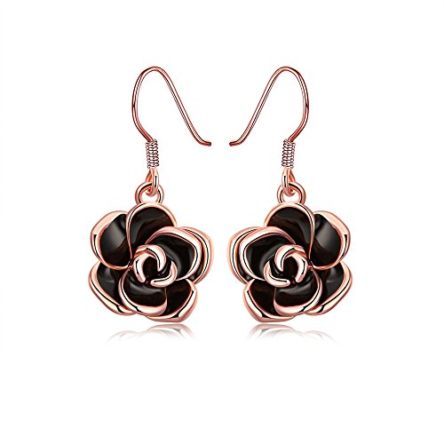 MXYZB Rose Gold Plated Black Rose Flower Hook Earrings Jewelry for Women Girls (Flower Dangling Necklace Earrings)