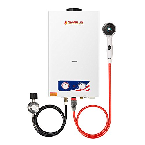 (CAMPLUX ENJOY OUTDOOR LIFE BD264 2.64GPM Outdoor Propane Tankless Gas Water Heater, White)