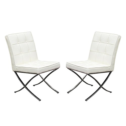 Set of (2) Cordoba Tufted Dining Chair w/ Stainless Steel Frame by Diamond Sofa - White - # CORDOBADCWH2PK