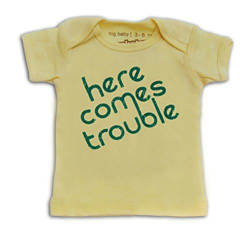 Here Onesie (Punkster Baby Boys' HERE COMES TROUBLE SS Tee 3-6M Yellow)
