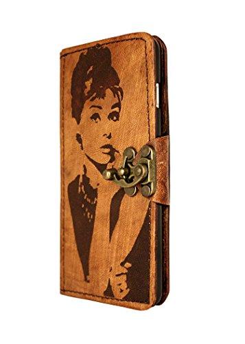 """A Little Present """", handgemacht, Vintage-Stil,"""" Audrey """"Leder Flip Case Cover Tasche mit Schloss für iPhone 6 Plus, braun"""