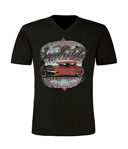 Hot Rod Rockabilli Old Skool Herren T-Shirt mit V-Ausschnitt
