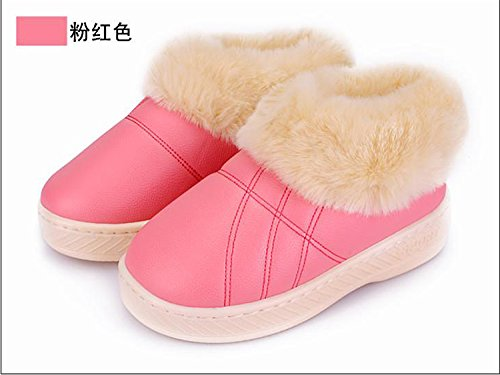 peluche d'hiver 37 antiglisse pieds 39 38 36 Chaussures Cotton intérieur Slipper Padded chauds Femmes Chaussons LaxBa Rose Hommes tYwqBaqX