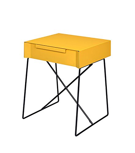 Major-Q Retro Styled Side Table with Metal Base for Bedroom/Living room/Game room, Yellow Finish 18 x 15 x 22 by Major-Q (Image #1)