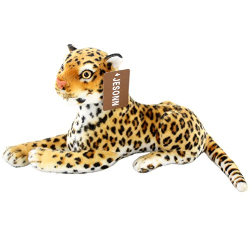 Jesonn Realistic Stuffed Toy Animals Spotted Leopard Calf Plush for Kids' Birthdays Gifts,12