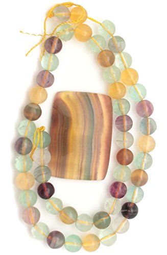 - Colorful YELLOW Rainbow Flourite Gemstone Cabochon with 1 Strands of Flourite Round Beads, Jewelry Making SET