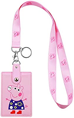 Hasfine Cute Credit Card Case Neck Pouch Id Badge Holder Lanyard With Cartoon Shield Keychain For Students Teens Boys Girls Women Peppa Pig