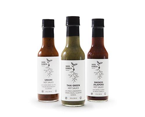 Umami, Thai Green, Smoked Jalapeno Hot Sauce Variety Gift Pack - Paleo Friendly, Vegan, Organic Ingredients, Mild to Medium - Seed Ranch