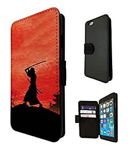 887 - Samurai Sunset Japanese Fighter Design iphone 5C Fashion Trend TPU Leather Case Full Flip Credit Card TPU Leather Purse Pouch Defender Stand Cover