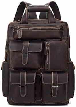 Size MUMUWU Mens Shoulder Backpack Crazy Horse Leather Retro Travel Bag Leather Backpack Tourism Large Capacity Brown L