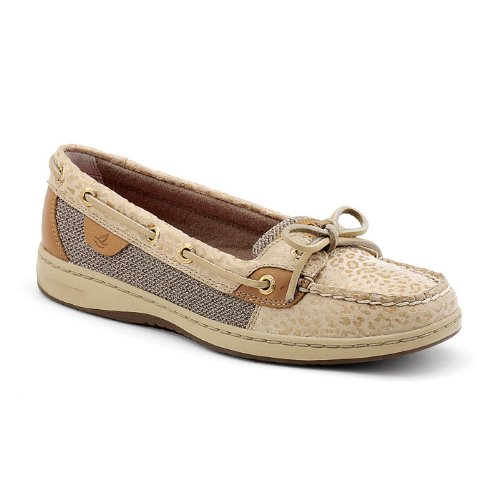 Sperry Topsider Women's Angelfish Boat Shoe 9102880 8.5 M Natural Embossed Leopard