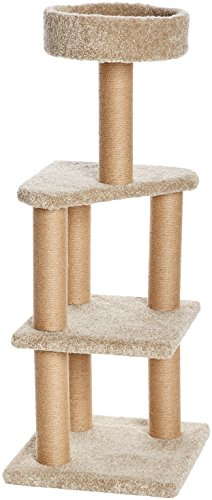 AmazonBasics Large Cat Condo Tree Tower with Scratching Post - 18 x 18 x 46 Inches, Beige