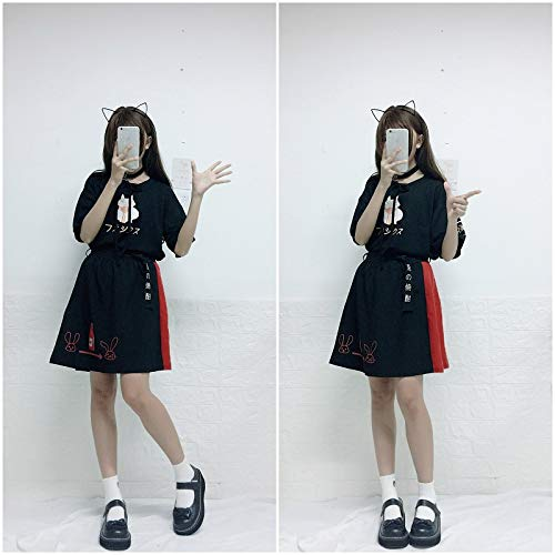 Summer New Cat Print Bow Short T-Shirt + Skirt 2 Piece Sets Clothing by MV (Image #4)