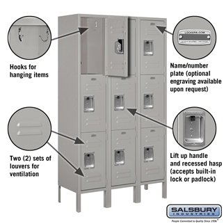 Salsbury Industries 63352GY-U Triple Tier 36-Inch Wide 5-Feet High 12-Inch Deep Unassembled Standard Metal Locker, Gray