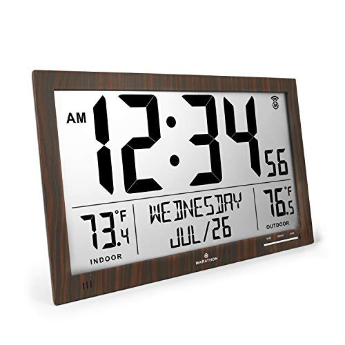Marathon CL030066 Slim Atomic Full Calendar Clock with Indoor/Outdoor Temperature. Extra Long 4.5 Inch Digits. Comes with External Probe for Refrigerators (Wood Tone)