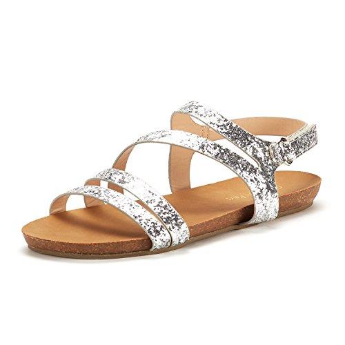 DREAM PAIRS Women's Bold_05 Silver Glitter Fashion Sling Back Flat Sandals Size 8.5 M - Silver Glitter Sandals