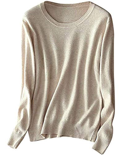 Camel Sweater Cashmere Crewneck - Women's Basic Crewneck Lightweight Knit Cashmere Pullover Sweater Tops, Light Camel, Tag 4XL =US L (12-14)