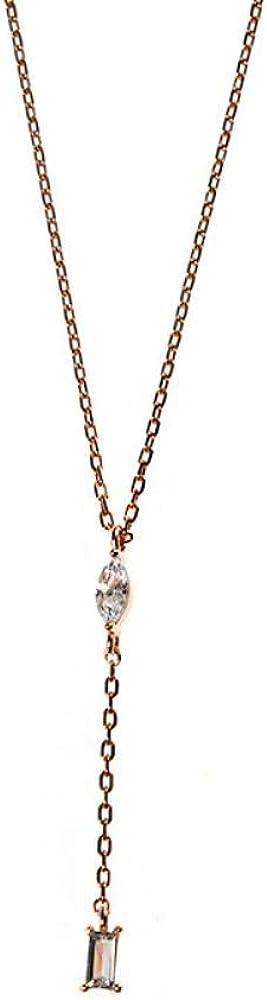 Oowjj Plata de Ley 925 con Incrustaciones de Ojo de Caballo circonitas cúbicas Cadena de clavícula con Flecos Cuadrados Collar Colgante de Mujer