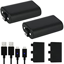 Xbox One Battery Pack 2PCS x 1200 mAh Xbox One Rechargeable Battery and 5FT Micro USB Charging Cable with LED Indicator Light Kit for Xbox One/Xbox One X/Xbox One S Wireless Controllers