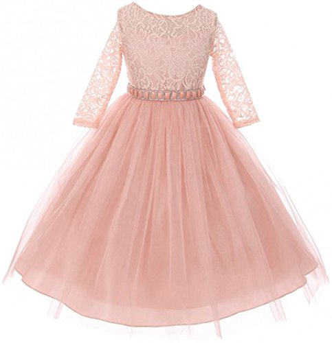 Big Girls' Dress Lace Top Rhinestones Tulle Holiday Christmas Party Flower Girl Dress Blush Size 10 (M37BK2)