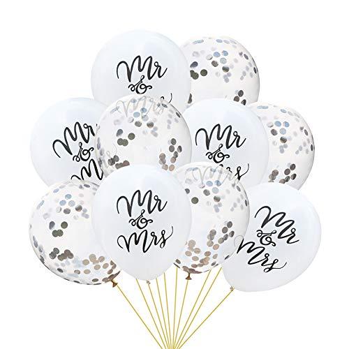10 Pcs Mr&Mrs Confetti Balloons, Kicpot 12 Inch Balloon 5pcs White 10inch Latex Mr&Mrs Balloons + 5pcs 12 inch Silver Confetti Balloons for Wedding Party Supplies