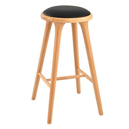 Price comparison product image HETAO Creative fashion Solid wood High stool Leisure stool Bar Front desk Bar stool bar Household 43 43 74cm,  log color