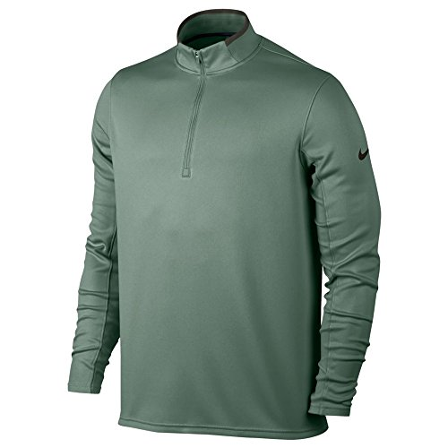 (Nike Dri Fit 1/2 Long Sleeve Top Golf Pullover 2018 Clay Green/Sequoia/Black Large)