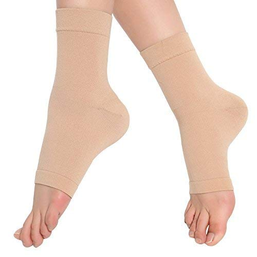 SPOTBRACE Medical Compression Breathable Ankle Brace, Elastic Thin Ankle Support, Pain Relief Ankle Sleeve for Unisex Ankle Swelling, Achilles Tendonitis, Plantar Fasciitis and Sprained - Nude,1 Pair ()