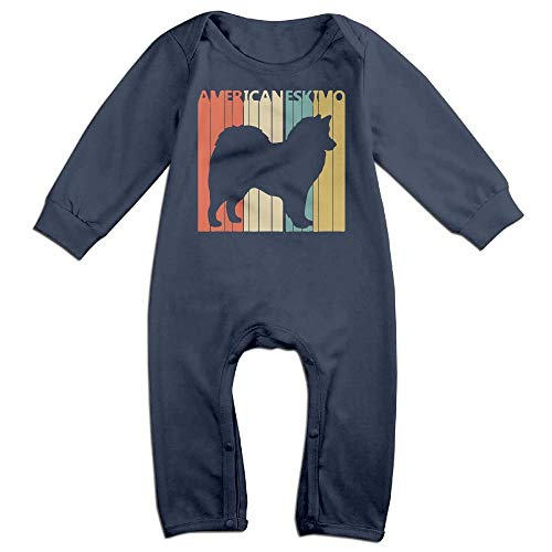 TYLER DEAN Toddler Baby Boy Girl Jumpsuit Vintage American Eskimo Dog Kid Pajamas Navy]()