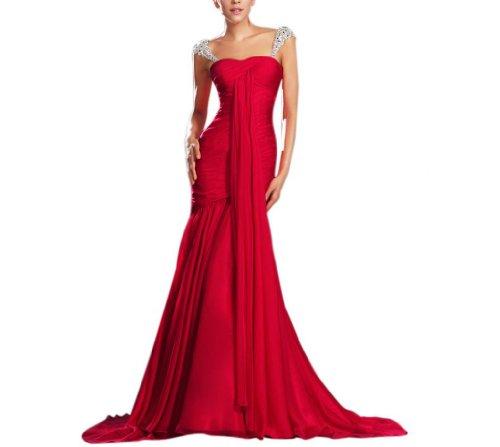- Dearta Women's Sheath Sweetheart Court Train Evening Dress US 10 Red