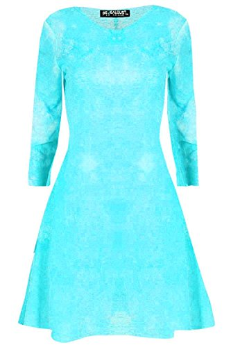 Be Jealous Femmes Col Rond évasé femmes TIE AND DYE Pull manches longues patineuse SWING Mini Robe RU grande taille 8-26 - Turquoise, Plus Size (UK 20/22)