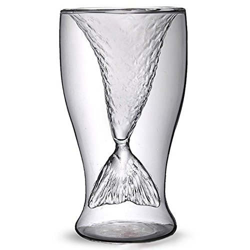 Zehui 100ml Crystal Double Wall Mermaid Creative Glasses Beer Mug Creative Cup Beauty Glassware Shrimp Cocktail Glasses