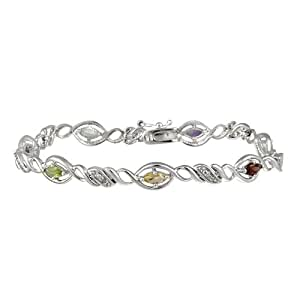"""Sterling Silver Multi-Gemstone and Diamond Accent Link Bracelet, 7.25"""""""