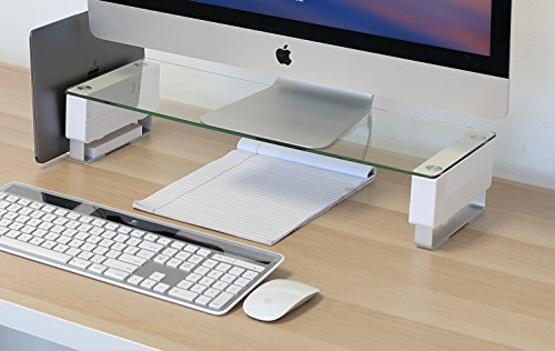 Mount-It! Glass Monitor Stand Computer Desktop Riser, Clear Tempered Glass Brushed Aluminum Legs, Fits 24, 27, 30, 32 Inch Screens, 66 Lbs Capacity (Glass Top Brushed)