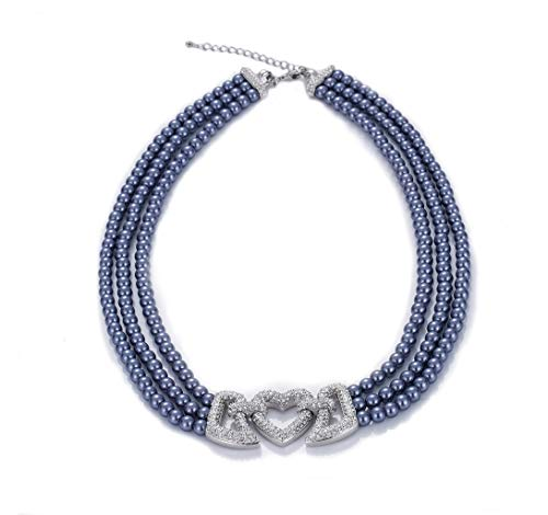 Rakumi Blue Pearl Necklace 3-Strand 6-7mm Dyed-Blue Seashell Pearl Necklace 18