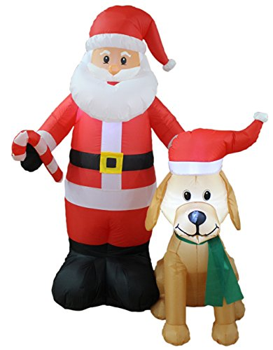 Hot Air Balloon Ride Costume (5 Foot Tall Lighted Christmas Inflatable Santa Claus with Cute Dog Yard Decoration)