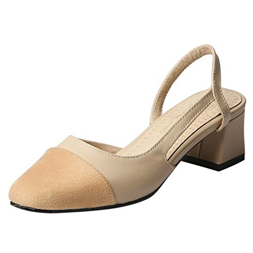COOLCEPT Women Casual Mid Block Heel D'orsay Sandals Closed Toe Slingback Shoes Beige yELGpyNO