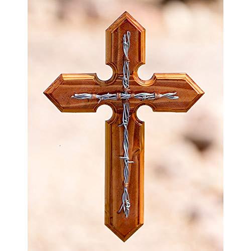 Clr Wood Finish - Wooden Cross-Ranch Cross Assorted Wood Finishes & Designs (Wooden Cross-Ranch Cross Medium Wood Finish w/Silver Metallic Barbed Wire)