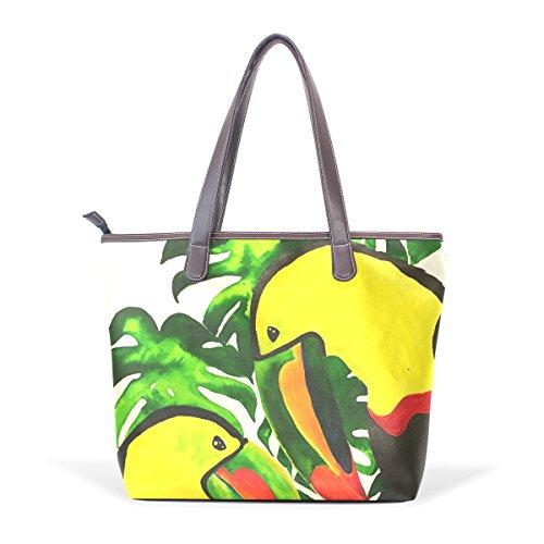 COOSUN Womens Vögel Kunst Malerei Pu-Leder große Tasche Griff Umhängetasche