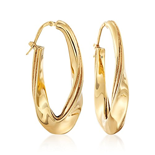 (Ross-Simons Italian 18kt Yellow Gold Twisted Oval Hoop Earrings)